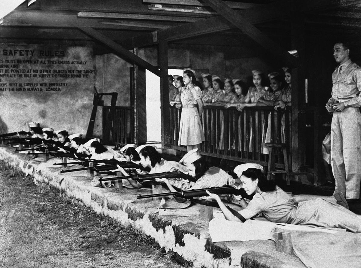 Women training to defend the Philippines